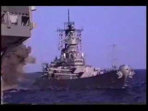 """Линкор USS Missouri, залп из главного калибра (16"""")"""