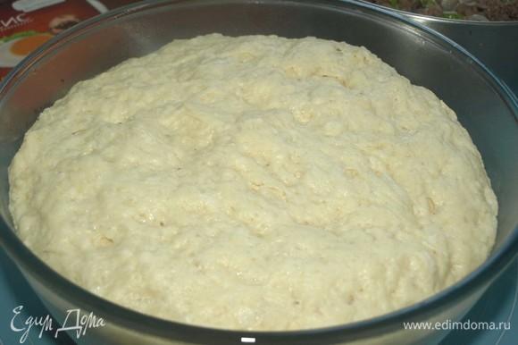 Через час тесто увеличится в объеме. Рабочую поверхность посыпать мукой и выложить на нее тесто. Обмять тесто руками.