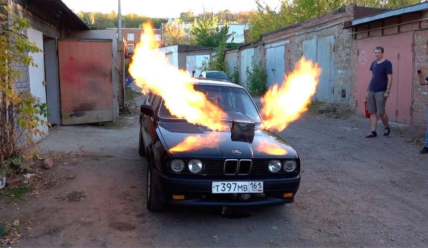 Старую BMW оснастили двигателем от истребителя МИГ-23