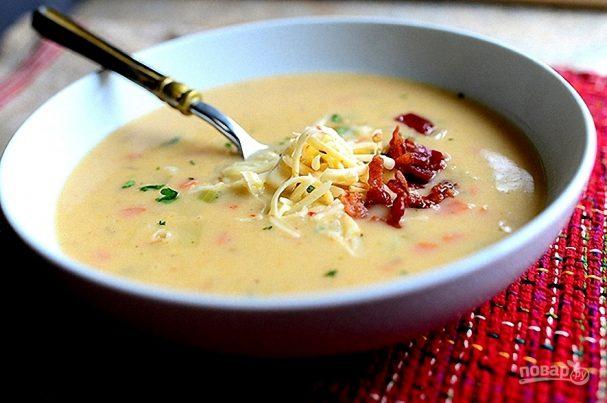 Суп пюре из картофеля с беконом
