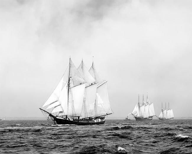 Трехмачтовые корабли у берегов США, 1899 год интересно, исторические кадры, исторические фото, история, ретро фото, старые фото, фото
