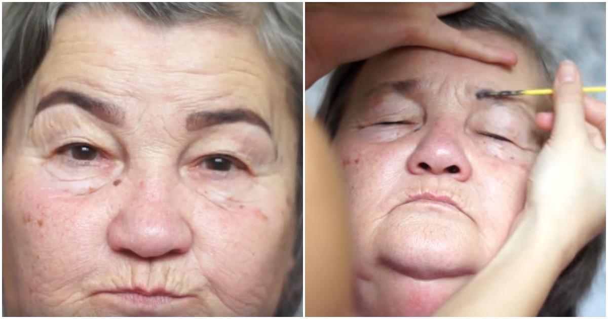 Внучка решила сделать макияж своей бабушке. Невозможно не улыбнуться