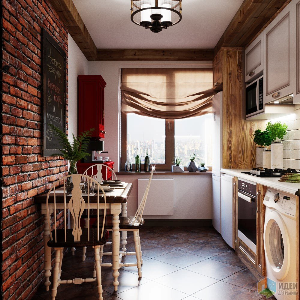 Вкусный интерьер для маленькой кухни