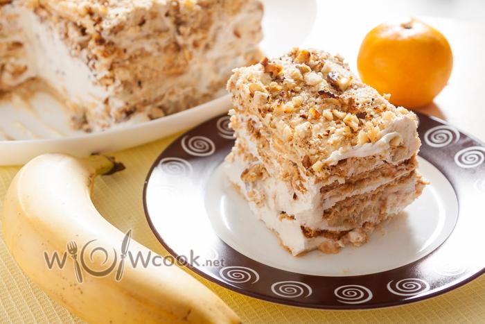 Торт из печенья и бананов со сметаной рецепт с фото