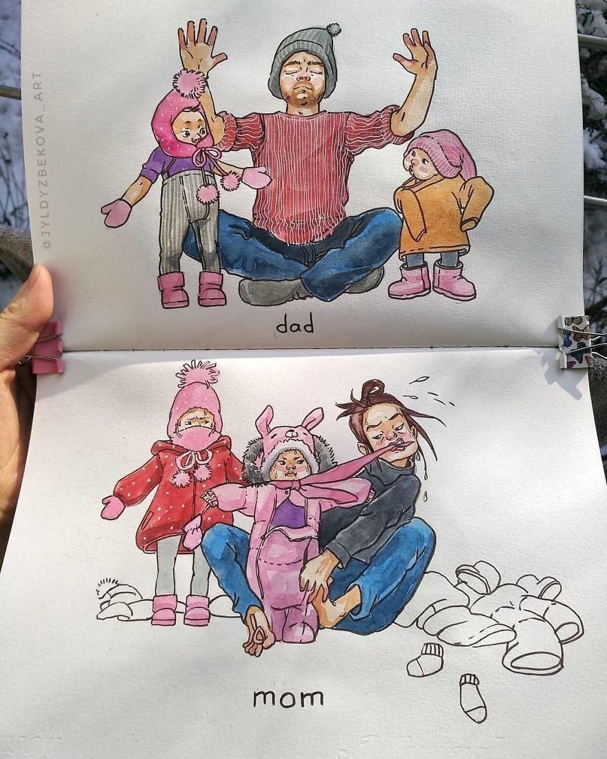 Смешные рисунки про маму и дочку