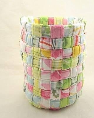 Плетём корзинку из полосок ткани 0
