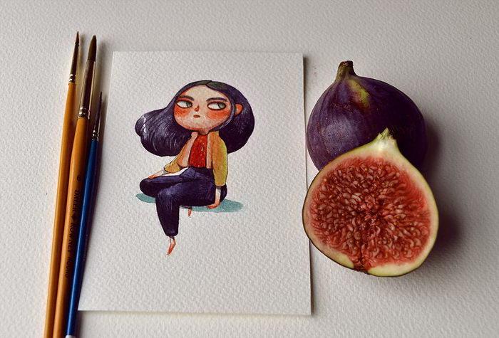 Характеры фруктов в рисунках Марии Тюриной