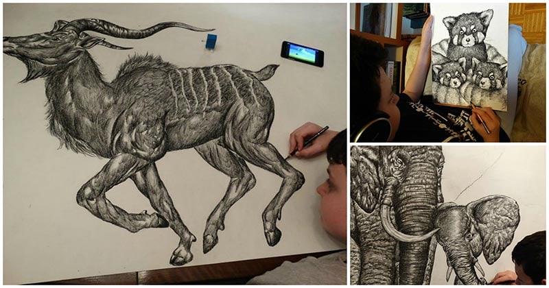 15-летний мальчик рисует животных по памяти! Просто невероятный талант
