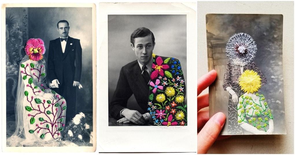 Художница дарит новую жизнь старым черно-белым фотографиям с помощью яркой вышивки