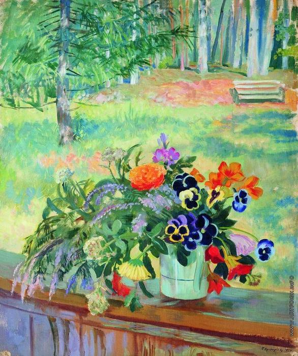 Букет цветов на балконе (586x700, 400Kb)