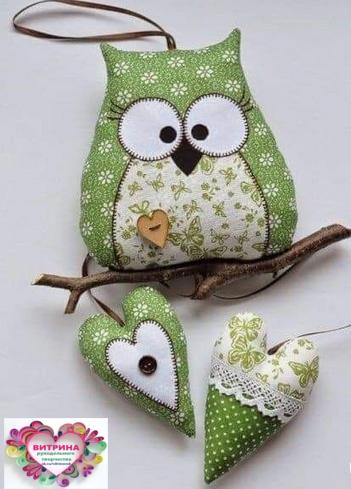Симпатичные совушки из ткани. Идеи для рукоделия.... handmake,куклы и игрушки,поделки своими руками