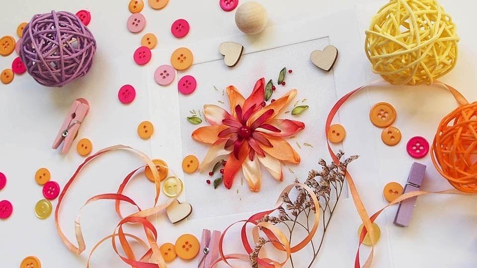 Солнечный цветок — мастер-класс по вышивке лентами
