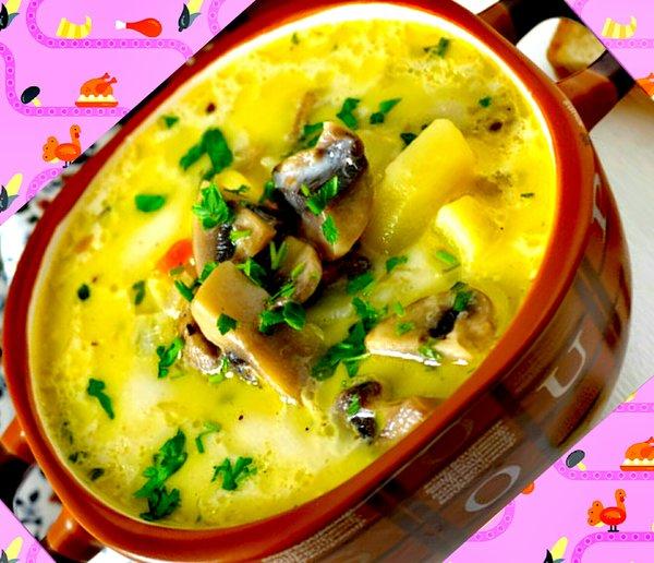 Сырный суп с шампиньонами - простой, вкусный, оригинальный супчик