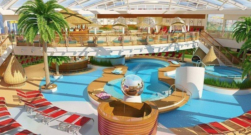 В распоряжении отдыхающих аквапарк в тропическом стиле AIDAnova, carnival, ynews, германия, корабль, лайнер, мир, новости