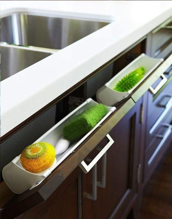 Для тех, кого раздражают губки и моющие средства на кухонной мойке Фабрика идей, гениально, дизайн, дом, идеи, ремонт