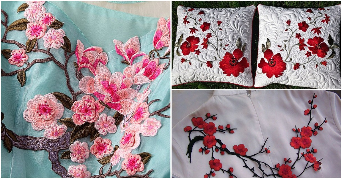 Всегда изумительно и актуально: вышитые цветы на ткани