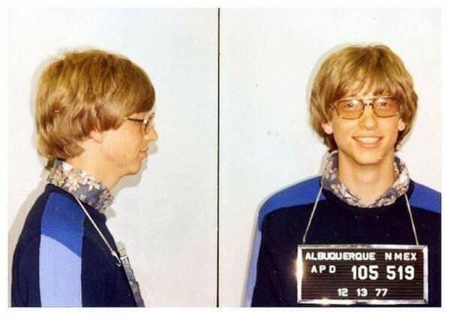 Фото из досье арестованного Билла Гейтса за вождение без прав, 1977 год