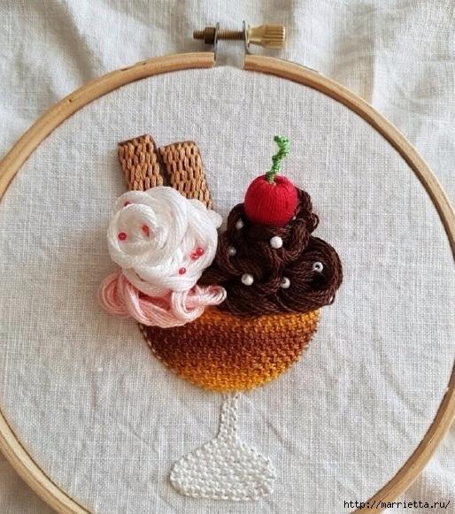"""Объемная вышивка """"Мороженное"""" — идеи для вдохновения"""