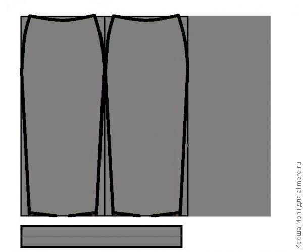 Выкройка юбки карандаш из трикотажа