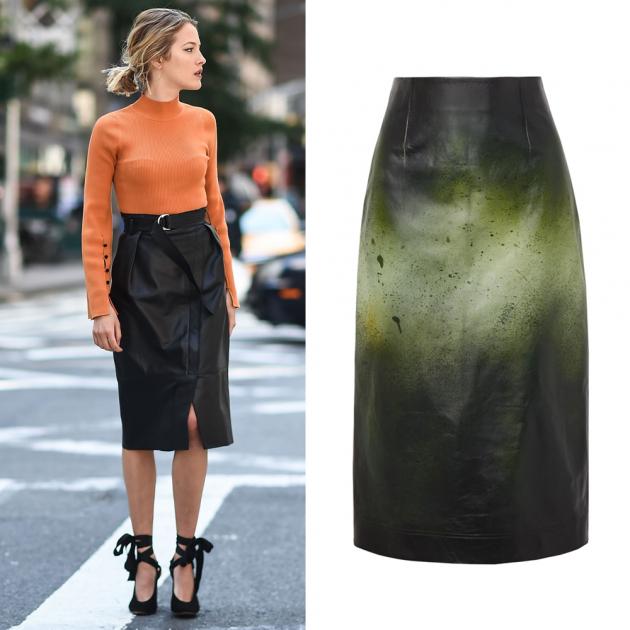 Кожаная юбка с градиентом Calvin Klein, 190 210 руб.
