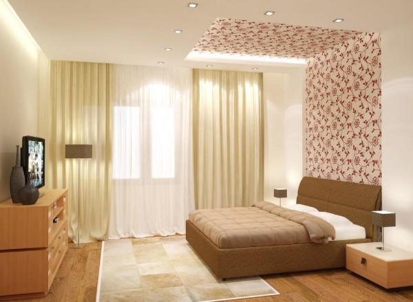 как скомбинировать обои в спальне фото пример дизайна