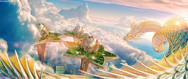 Футуристический город будущего форме лотоса в небе