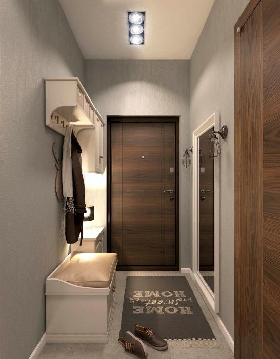 Классический дизайн узкого коридора.   Фото: ТВОЙ ДОМ.