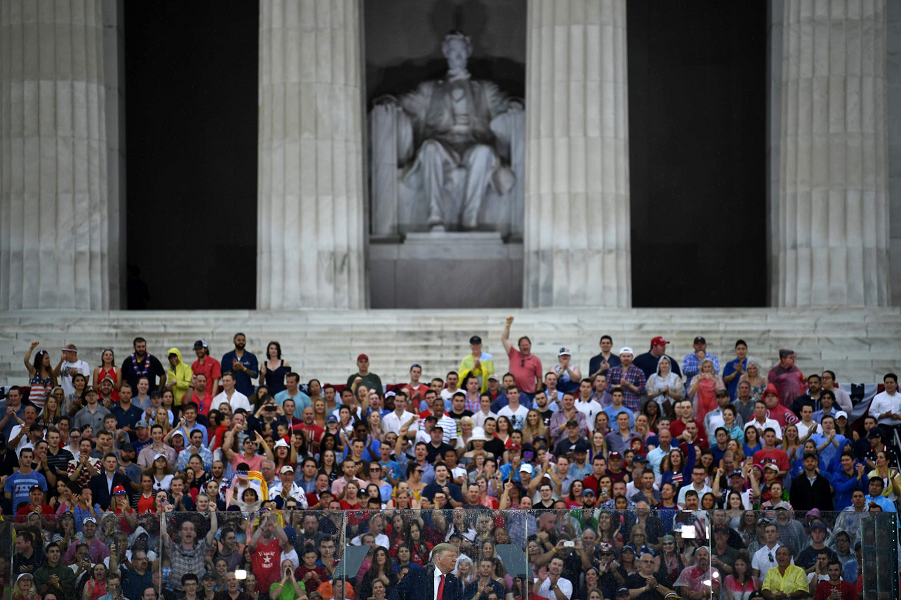 US President Donald Trump speaks during the Salute to America,  July 4, 2019.  Brendan Smialowski, AFP, Getty Images.png