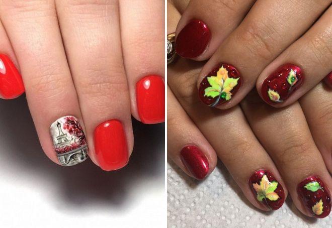Красный шеллак на короткие ногти 2019