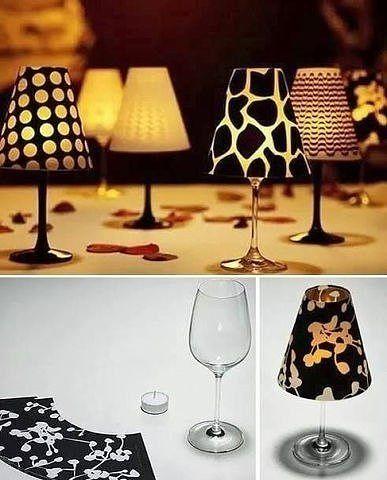 Маленькие светильнички для романтического вечера из бокала, свечки и декоративной бумаги