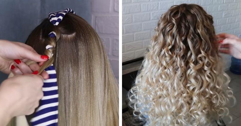 Лайфхак для красивых кудрей: крутим волосы без плойки и бигуди