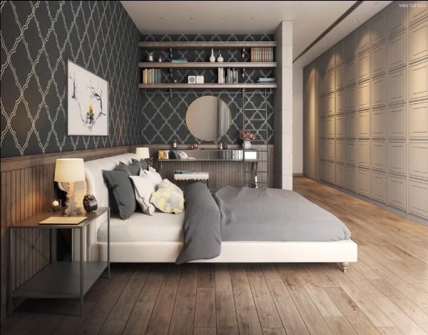 пример горизонтального комбинирования обоев в спальне