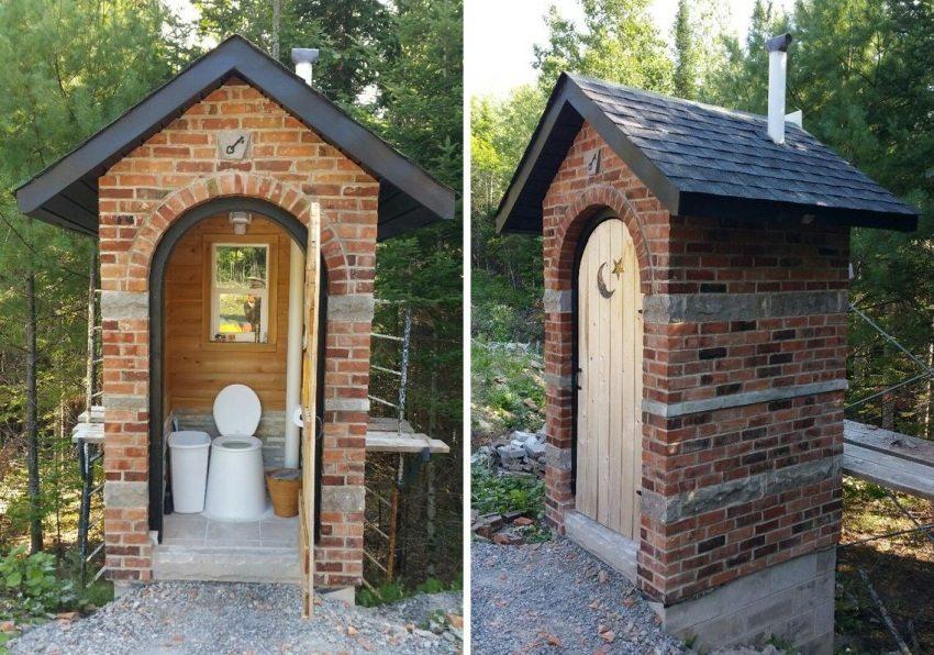 Туалет, поÑтроенный из краÑного кирпича