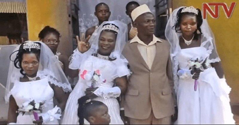 Продавец из пригорода Кампалы, Уганда, женился в один день на трех невестах, поскольку не располагал средствами на проведение нескольких торжеств брак, история, многоженство, невеста, свадьба, уганда, фото