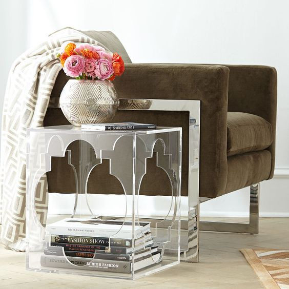 17 cutout acrylic side table with storage space inside