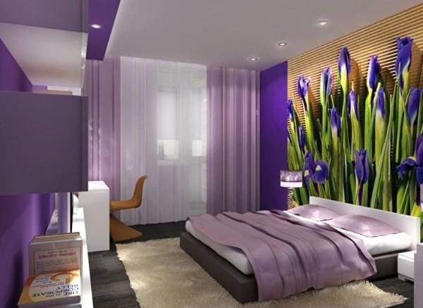 пример комбинирования обоев в дизайне спальни
