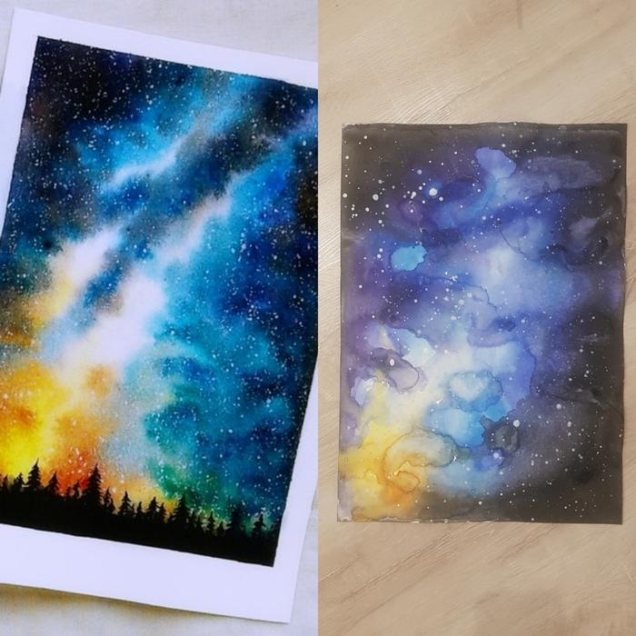 Поздравительных, звездное небо рисунок детей красками