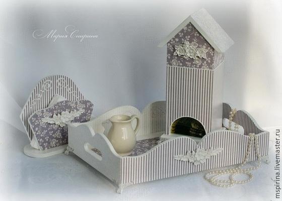 Стыковка салфеток на примере декора чайного домика. Мастер-класс по декупажу на дереве