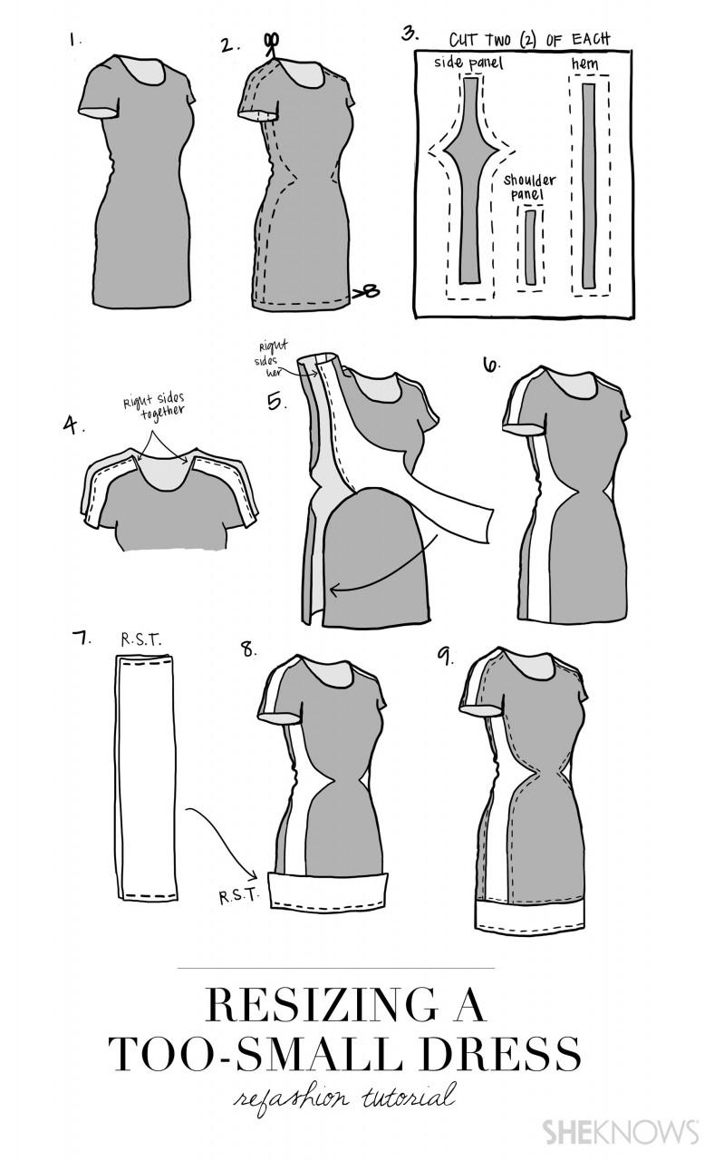 Как увеличить платье в размере и изменить его длину Одежда