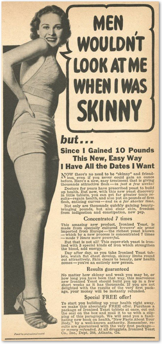 Винтажная реклама средств для набора веса