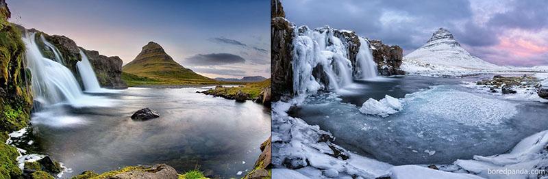 Волшебные места до и во время зимы