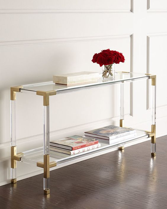 20 lucite and brass console looks fashionable and accomodates enough things