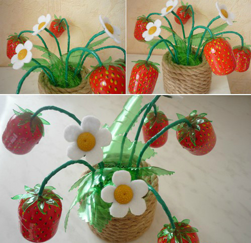 Вот такую аппетитную Клубничку можно сделать из футляров от Киндер-Сюрпризов! Детям будет интересно.