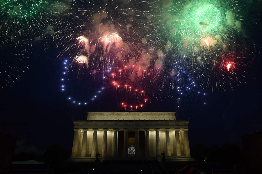 Fireworks explode over the Lincoln Memorial during the Fourth, July 4, 2019.   Brendan Smialowski, AFP, Getty Images.png