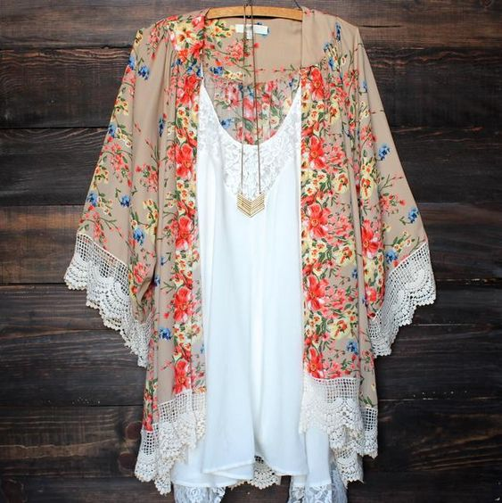 This is too boho for me but I could do my kimono top with white tee or cami. . .: