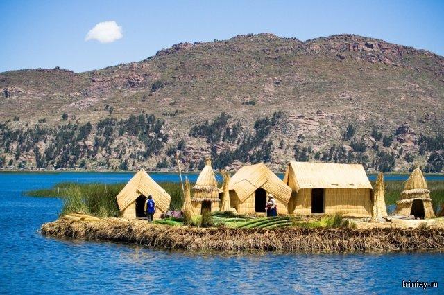 Плавучие острова Урос на озере Титикака приколы,смешные картинки,смешные комментарии