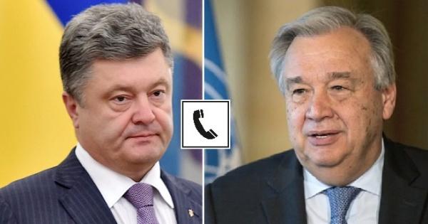 Порошенко потелефону обсудил сгенсеком ООН ввод миротворцев наДонбасс
