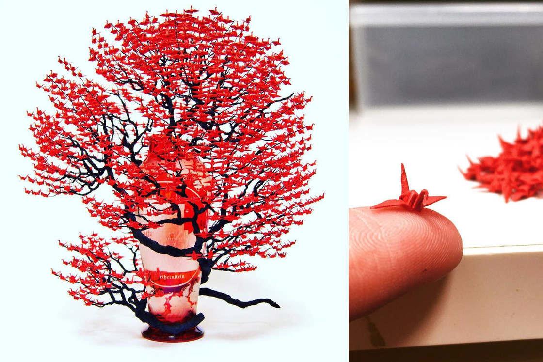 Невероятные деревья-бонсай с кронами из тысяч крошечных оригами журавлей