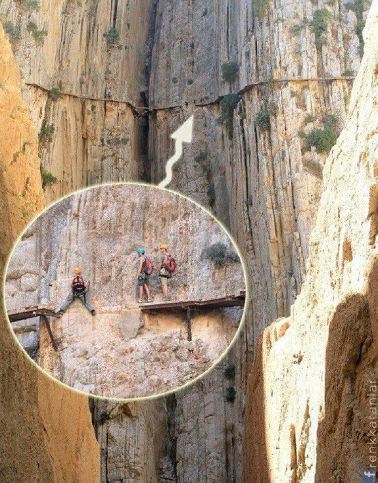 Эль Чорро - небольшая деревня, расположенная в Малаге на юге Испании, недалеко от города Алора. Это одна из самых популярных скалолазных достопримечательностей в Испании горы, интересное, красота, скалы, стройка, царь природы