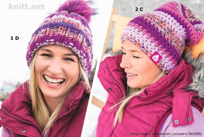 Яркие вязаные шапки спицами и крючком - легкая небрежность или классика